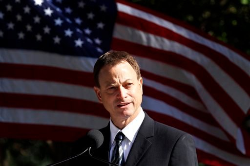 FILE- In this Nov. 10, 2010 file photo, Memorials National Spokesperson actor Gary Sinise speaks at the groundbreaking ceremony for the American Veterans Disabled for Life Memorial, in Washington. (AP)