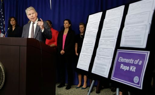 Manhattan district attorney Cyrus Vance Jr. talks about the $35 million he is pledging in funding to eliminate the backlog of untested rape kits in New York City, the state and across the country during a news conference, Wednesday, Nov. 12, 2014. (AP)