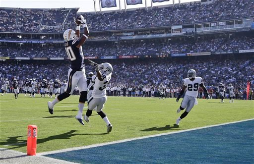 San Diego Chargers wide receiver Malcom Floyd, front left, makes a touchdown catch over Oakland Raiders cornerback T.J. Carrie in the first quarter of an NFL football game Sunday, Nov. 16, 2014, in San Diego. (AP Photo/Greg Bull)