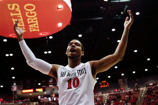 San Diego State guard Aqeel Quinn reacts to the crowd after a basket against Utah during the first half of an NCAA college basketball game Tuesday, Nov. 18, 2014, in San Diego.
