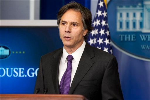 FILE - In this July 28, 2014, Deputy National Security Adviser Tony Blinken speaks at the White House in Washington. (AP)