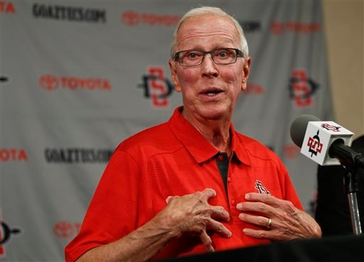 San Diego State basketball coach Steve Fisher talks about the three-year contract extension he received at a news conference Wednesday, Nov. 19, 2014, in San Diego.