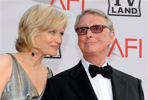 FILE - Journalist Diane Sawyer and director Mike Nichols arrive at the AFI Lifetime Achievement Awards honoring Mike Nichols, at Sony Pictures Studios in this June 10, 2010 file photo taken in Culver City, Calif. (AP Photo/Chris Pizzello)
