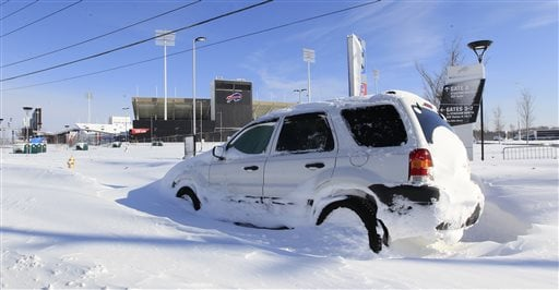 An abandoned car sits infront of a snow covered Ralph Wilson Stadium home of the Buffalo Bills in Orchard Park, N.Y. on Wednesday, Nov. 19, 2014.