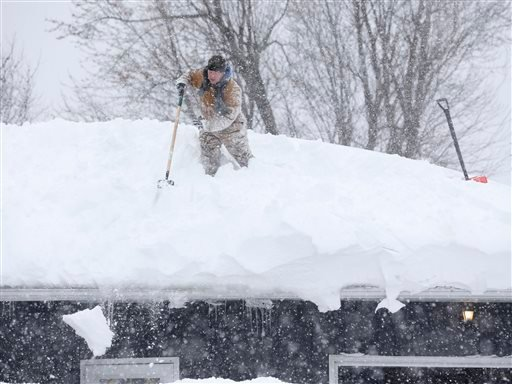 Tom Mudd clears snow from the roof of his house on Thursday, Nov. 20, 2014, in Cheektowaga, N.Y. (AP)