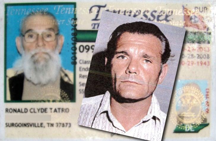 Ronald Tatro, 2008 driver's license photo and 1984 mug shot
