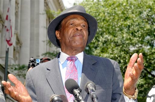 FILE - in this July 9, 2009 file photo, Councilman Marion Barry, former mayor of DC, speaks at a news conference about his recent arrest in Washington, DC. (AP)