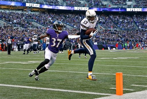 San Diego Chargers wide receiver Keenan Allen, right, rushes past Baltimore Ravens defensive back Danny Gorrer for a touchdown in the second half of an NFL football game, Sunday, Nov. 30, 2014, in Baltimore.