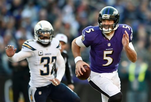 Baltimore Ravens quarterback Joe Flacco, right, rushes the ball past San Diego Chargers free safety Eric Weddle in the second half of an NFL football game, Sunday, Nov. 30, 2014, in Baltimore.