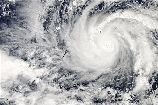This image captured by NASA's Aqua satellite shows Typhoon Hagupit on Wednesday, Dec. 3, 2014 at 04:30 UTC in the western Pacific Ocean.