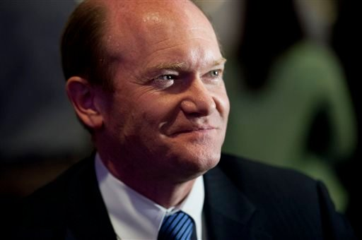 In this Nov. 6, 2012 file photo, Sen. Chris Coons, D-Del. is seen in Wilmington, Del. Veto brinkmanship between congressional Republicans and President Barack Obama - virtually absent in his first six years in office -- is about to unleash itself on Washi