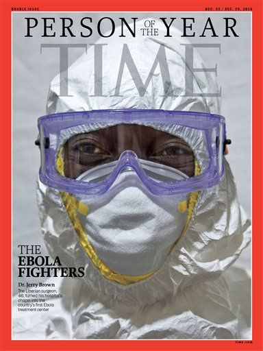 This image provided by Time Magazine, Wednesday, Dec. 10, 2014, announces the Ebola fighters as its Person of The Year for 2014. (AP Photo/Time Magazine)