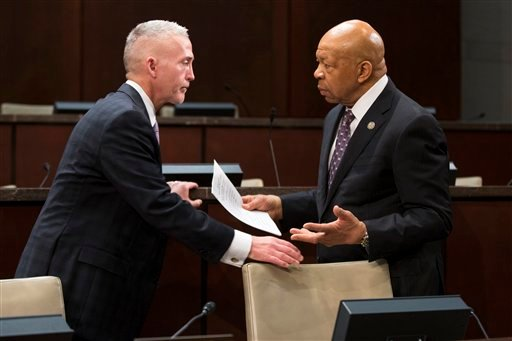 House Select Committee Chairman Rep. Trey Gowdy, R-S.C., left, talks with the committee's ranking member Rep. Elijah Cummings, D-Md. on Capitol Hill in Washington, Wednesday, Dec. 10, 2014. (AP)