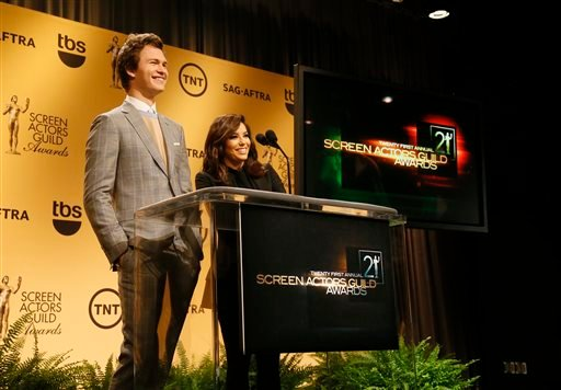 Ansel Elgort and Eva Longoria announce nominations for the for the 21st Annual Screen Actors Guild Awards, Wednesday, Dec. 10, 2014, in West Hollywood, Calif. The SAG awards will be presented Sunday, January 25. (Photo by Danny Moloshok/Invision/AP)