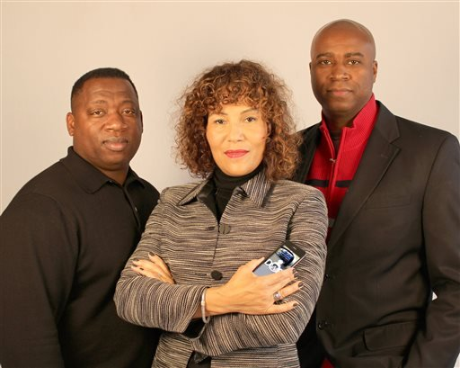 This undated handout photo shows creators of the Driving While Black app in Portland, Ore., from left, software developer James Pritchett, lawyers Mariann Hyland and Melvin Oden-Orr.