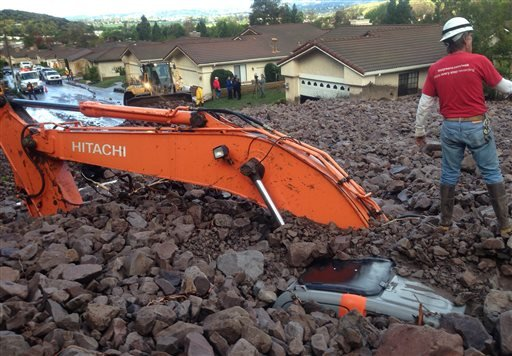 Earth moving equipment is buried by a debris flow in Camarillo Springs, Calif. about 50 miles northwest of Los Angeles on Friday, Dec. 12, 2014. (AP)