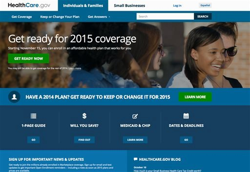 This Oct. 15, 2014 file photo, a screen shot shows the home page of HealthCare,gov, a federal government website managed by the U.S. Centers for Medicare & Medicaid Service. President Barack Obama's health insurance expansion faces the biggest test of its