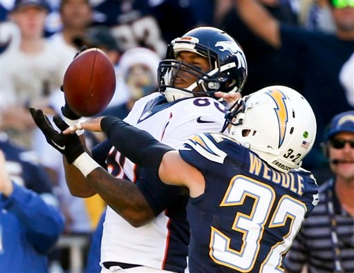 Denver Broncos tight end Julius Thomas, left, hauls in a pass under pressure from San Diego Chargers free safety Eric Weddle during the first half of an NFL football game Sunday, Dec. 14, 2014, in San Diego.