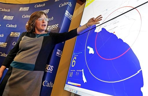 FILE - In this Jan. 28, 2014 file photo, Dr. Lucy Jones, senior advisor for risk reduction for the U.S. Geological Survey, describes how an early warning system would provide advance warning of an earthquake. (AP)