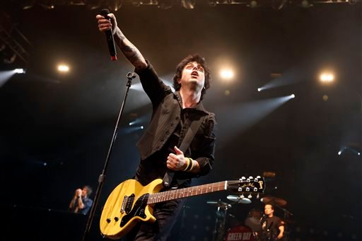 In this Sunday, April 7, 2013, file photo, Billy Joe Armstrong performs during a Green Day concert at the Barclays Center, in New York.