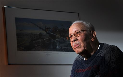 In this Feb. 14, 2012 photo, Lowell C. Steward, 92, poses for a photo, in Oxnard, Calif. Steward, a former member of the Tuskegee Airmen who flew nearly 200 missions over Europe during World War II, died Wednesday, Dec. 17, 2014, in California. (AP)