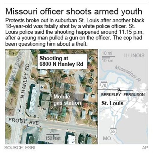 Map locates Berkeley, Missouri shooting.