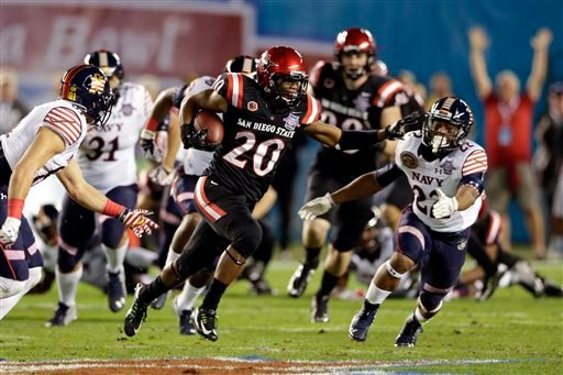 San Diego State Rashaad Penny returns a kick against Navy during the first half of the Poinsettia Bowl NCAA college football game Tuesday, Dec. 23, 2014, in San Diego.