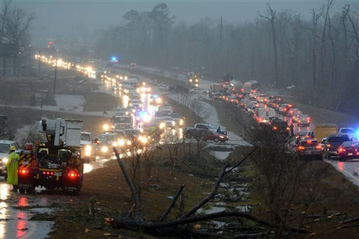 Traffic is blocked on US 98 East near Columbia, Miss., after a tornado touched down around 2:30 p.m., Tuesday, Dec. 23, 2014. (AP)