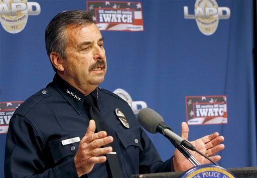 Los Angeles Police Chief Charlie Beck speaks at news conference about the autopsy of Ezell Ford in Los Angeles, Monday, Dec. 29, 2014. (AP Photo/Nick Ut)