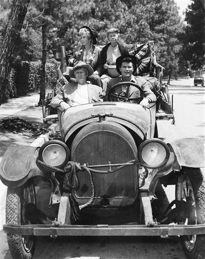 "This 1967 file photo shows, cast members, front, from left, Buddy Ebsen and Max Baer, and rear, from left, Donna Douglas and Irene Ryan, of the television series ""The Beverly Hillbillies."""