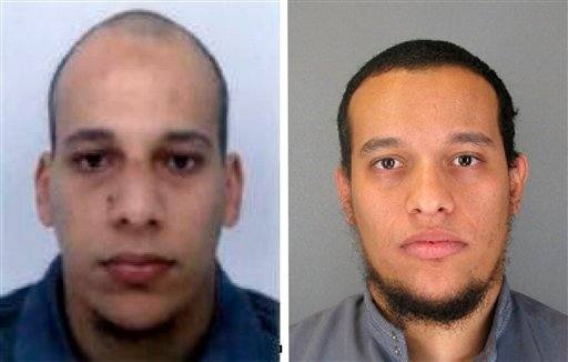 This photo provided by The Paris Police Prefecture Jan.8, 2015 shows the suspects Cherif, left, and Said Kouachi in the newspaper attack along with a plea for witnesses. (AP Photo/Prefecture de Police de Paris)