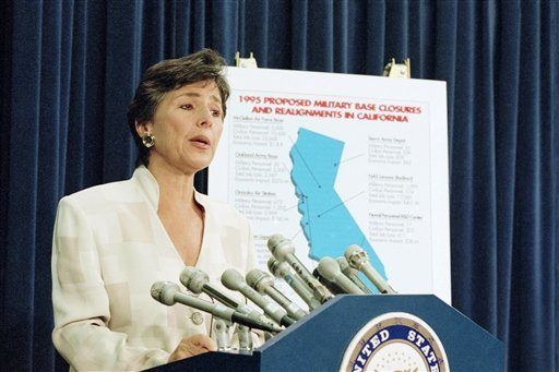 In this July 13, 1995 file photo, Sen. Barbara Boxer, D-Calif. speaks to reporters on Capitol Hill. (AP Photo/Joe Marquette, File)
