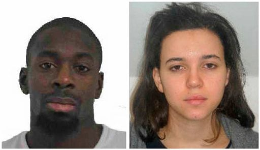 In this combination photo provided by the Paris Police Prefecture, Amedy Coulibaly, left, and Hayat Boumddiene, two suspects named by police as accomplices in a kosher market attack on the eastern edges of Paris on Friday, Jan. 9, 2015. A police official