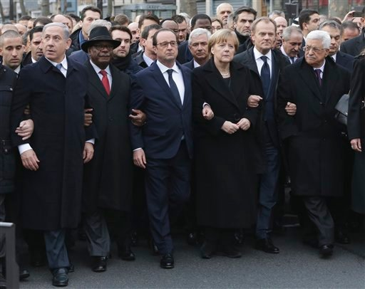 From the left : Israel's Prime Minister Benjamin Netanyahu, Mali's President Ibrahim Boubacar Keita, France's President Francois Hollande, Germany's Chancellor Angela Merkel, EU President Donald Tusk, and Palestinian President Mahmoud Abbas march during a