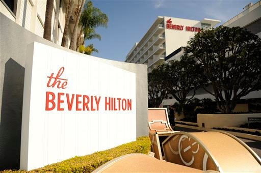The Beverly Hilton is pictured during the 72nd Annual Golden Globe Awards Preview Day at the Beverly Hilton on Thursday, Jan. 8, 2015, in Beverly Hills, Calif. The Golden Globe Awards will be held on Sunday, Jan. 11, 2015, at the Beverly Hilton. (Photo by