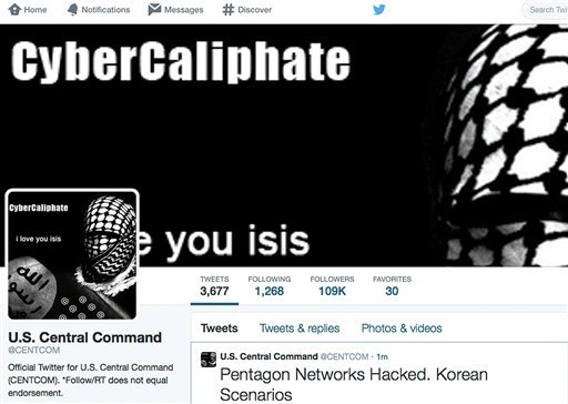 This screen grab made Monday, Jan. 12, 2015 show the front page of the U.S. Central Command twitter account after is was hacked. The twitter site of the military's U.S. Central Command was taken over Monday by hackers claiming to be working on behalf of t