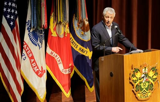 Chuck Hagel addresses members of the Sergeant Majors Academy during a stop at Fort Bliss, Texas Thursday, Jan. 15, 2015. (AP)
