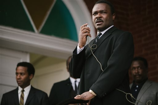 "In this image released by Paramount Pictures, David Oyelowo portrays Dr. Martin Luther King, Jr. in a scene from ""Selma."" The film was nominated for an Oscar Award for best feature on Thursday, Jan. 15, 2015. (AP)"