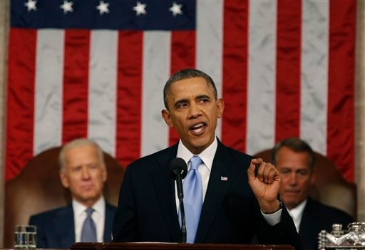 FILE - In this Jan. 28, 2014 file-pool photo, President Barack Obama delivers the State of Union address before a joint session of Congress in the House chamber on Capitol Hill in Washington. (AP)