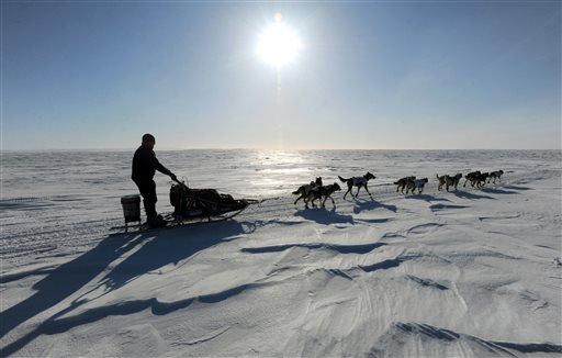 March 11, 2013, file photo: Alaska dog musher Aliy Zirkle drives her dog team towards Elim after leaving the checkpoint at Koyuk in Alaska during the 2013 Iditarod Trail Sled Dog Race. (AP Photo/The Anchorage Daily News, Bill Roth, File)