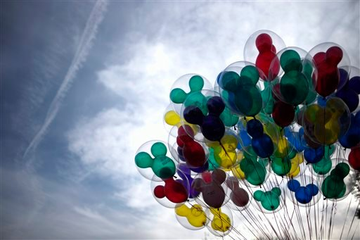 Mickey Mouse shaped balloons are for sale at Disneyland, Thursday, Jan. 22, 2015, in Anaheim, Calif. (AP)