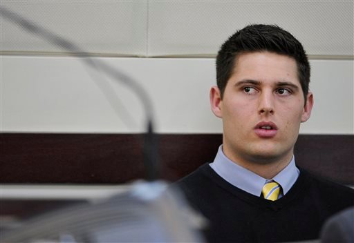 Defendant Brandon Vandenburg listens as his attorney Fletcher Long argues for acquittal during the his trial Monday, Jan. 26, 2015, in Nashville, Tenn. (AP)