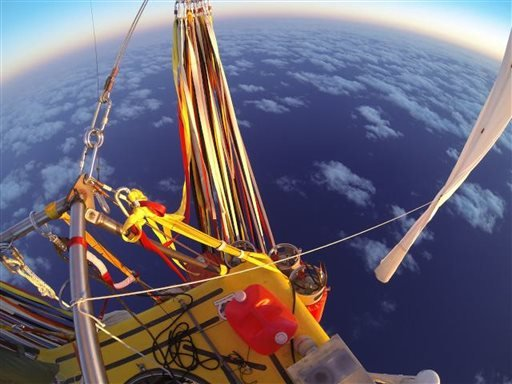 In Monday, Jan. 26, 2015 photo provided by the Two Eagles Balloon Team, Troy Bradley of New Mexico and Leonid Tiukhtyaev of Russia set off from Saga, Japan, shortly before 6:30 a.m. JST Sunday, Jan. 25, 2015. (AP)