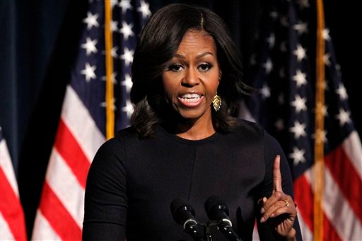 "First lady Michelle Obama speaks during the launch event for ""Got Your 6,"" a multifaceted program that includes encouraging film and television to include characters who are veterans, Friday, Jan. 30, 2015. (AP)"