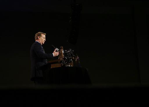 NFL Commissioner Roger Goodell speaks during a pre-Super Bowl XLIX NFL football news conference, Friday, Jan. 30, 2015, in Phoenix. (AP Photo/Matt Slocum)