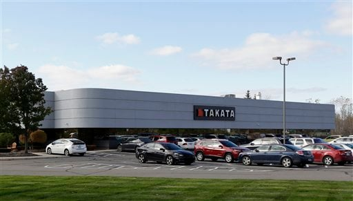 In this Oct. 22, 2014 file photo, the Takata building, an automotive parts supplier in Auburn Hills, Mich. is seen on Wednesday, Oct. 22, 2014. The company is the North American subsidiary of the Japanese based Takata Corporation, which supplies seat belt
