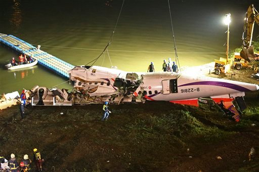 The mangled fuselage of a TransAsia Airways commercial plane is dragged to the river bank after it crashed in Taipei, Taiwan, Wednesday, Feb. 4, 2015. (AP Photo)