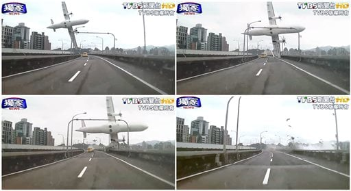 In this combination photo, a series of images taken from video provided by TVBS show a commercial airplane clipping an elevated roadway just before it careened into a river in Taipei, Taiwan Feb. 4, 2015. (AP Photo/TVBS)