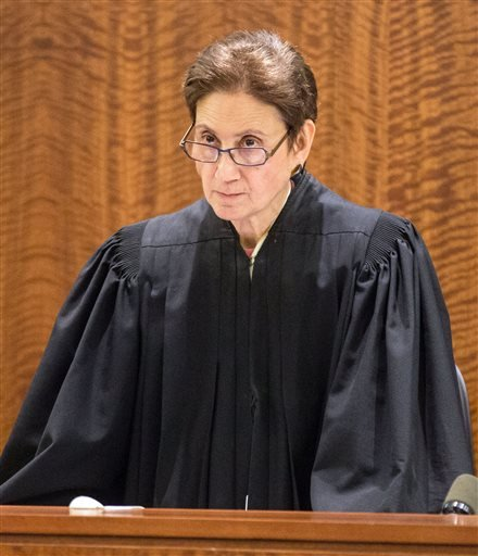 Bristol County Superior Court Judge Susan Garsh addresses the court during the murder trial of former New England Patriots player Aaron Hernandez at Bristol County Superior Court in Fall River, Ma., Tuesday, Feb. 3, 2015.