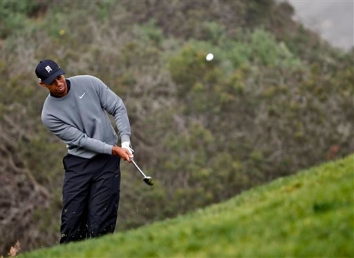 Tiger Woods misplays a chip to the third green during the pro-am at the Farmer Insurance Open golf tournament at Torrey Pines, Wednesday, Feb. 4, 2015, in San Diego. (AP Photo/Lenny Ignelzi)